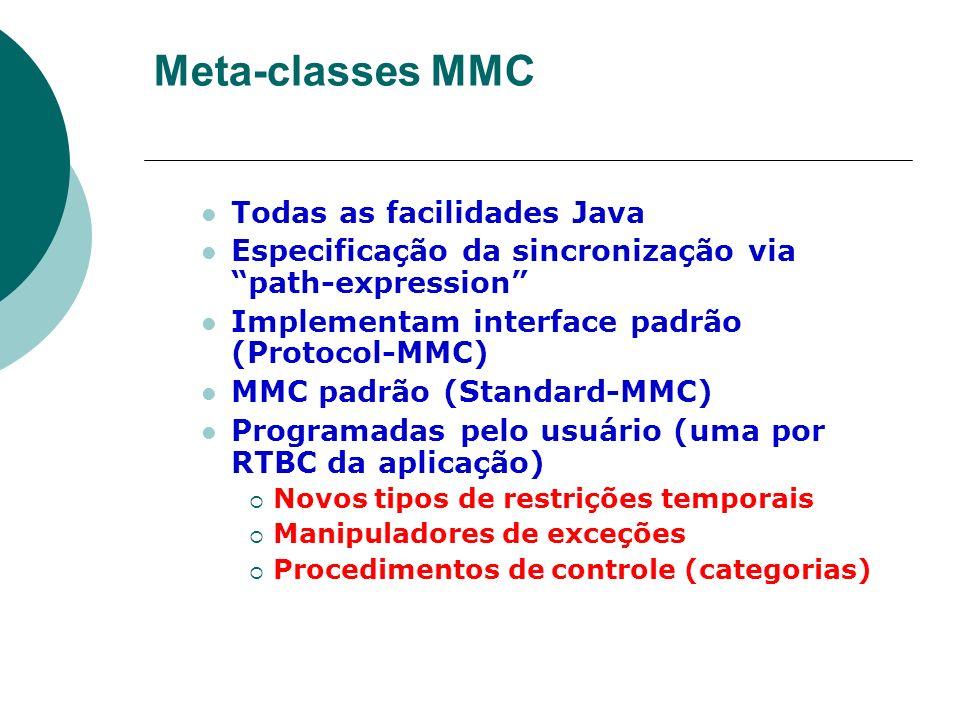 Meta-classes MMC Todas as facilidades Java Especificação da sincronização via path-expression Implementam interface padrão (Protocol-MMC) MMC padrão (