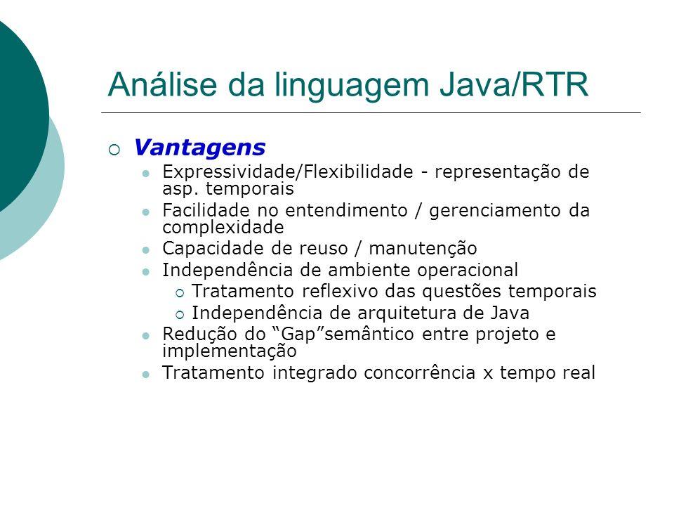 Análise da linguagem Java/RTR Vantagens Expressividade/Flexibilidade - representação de asp. temporais Facilidade no entendimento / gerenciamento da c