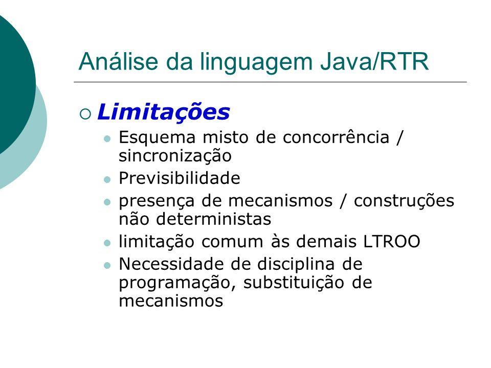 Análise da linguagem Java/RTR Limitações Esquema misto de concorrência / sincronização Previsibilidade presença de mecanismos / construções não determ