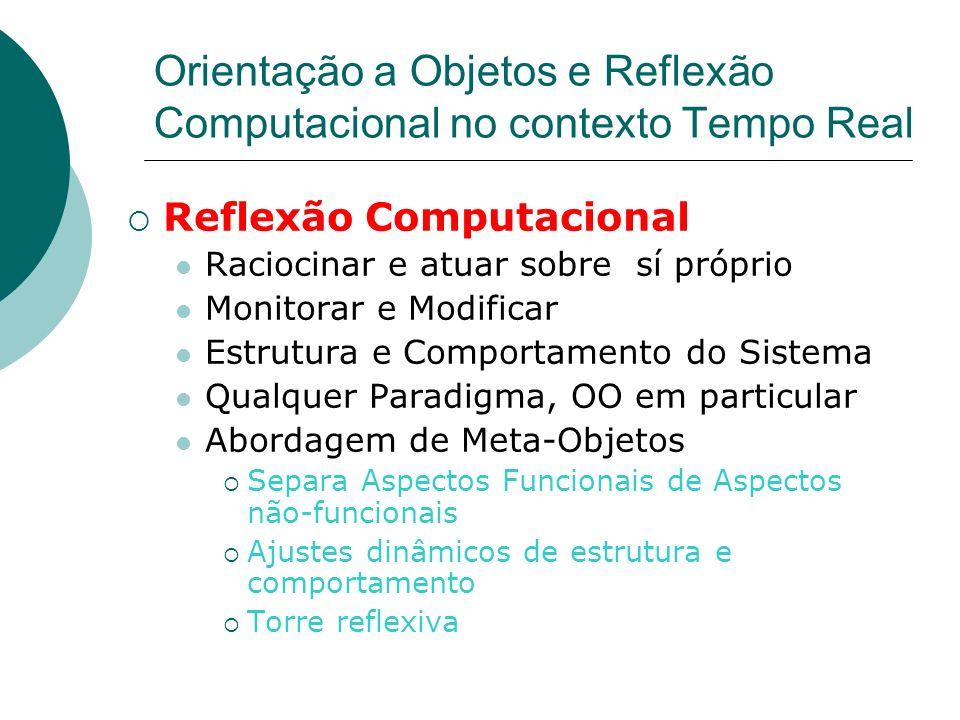 Orientação a Objetos e Reflexão Computacional no contexto Tempo Real Reflexão Computacional Raciocinar e atuar sobre sí próprio Monitorar e Modificar