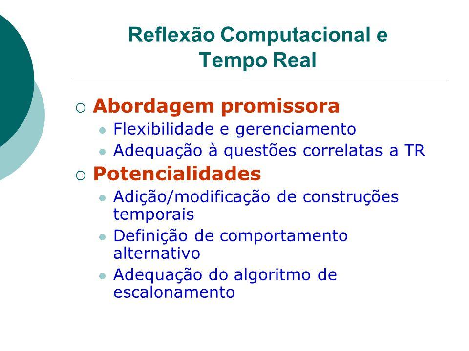 Reflexão Computacional e Tempo Real Abordagem promissora Flexibilidade e gerenciamento Adequação à questões correlatas a TR Potencialidades Adição/mod
