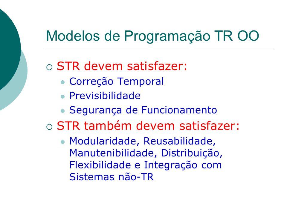 Modelos de Programação TR OO STR devem satisfazer: Correção Temporal Previsibilidade Segurança de Funcionamento STR também devem satisfazer: Modularid