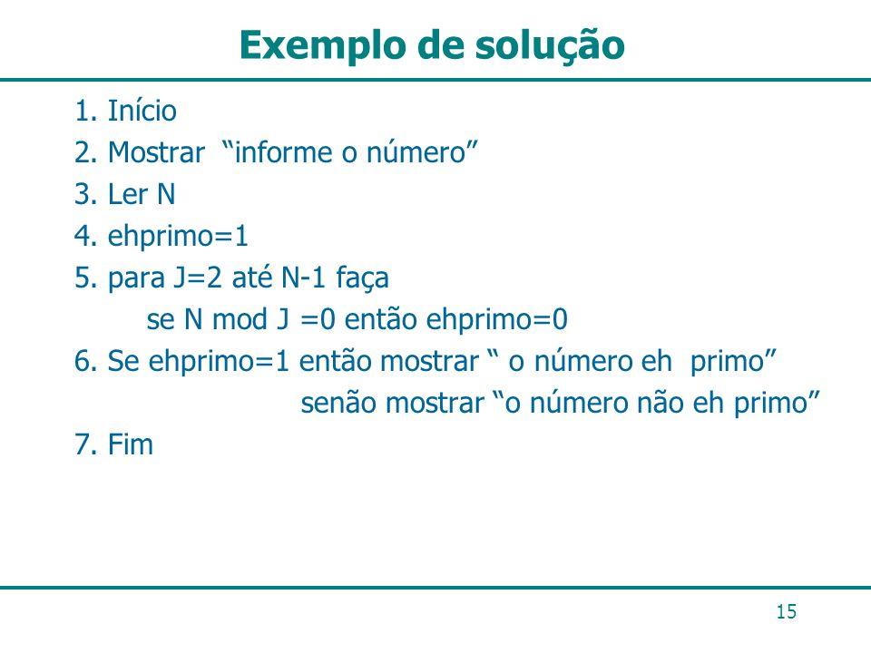 Exemplo de solução 1. Início 2. Mostrar informe o número 3. Ler N 4. ehprimo=1 5. para J=2 até N-1 faça se N mod J =0 então ehprimo=0 6. Se ehprimo=1