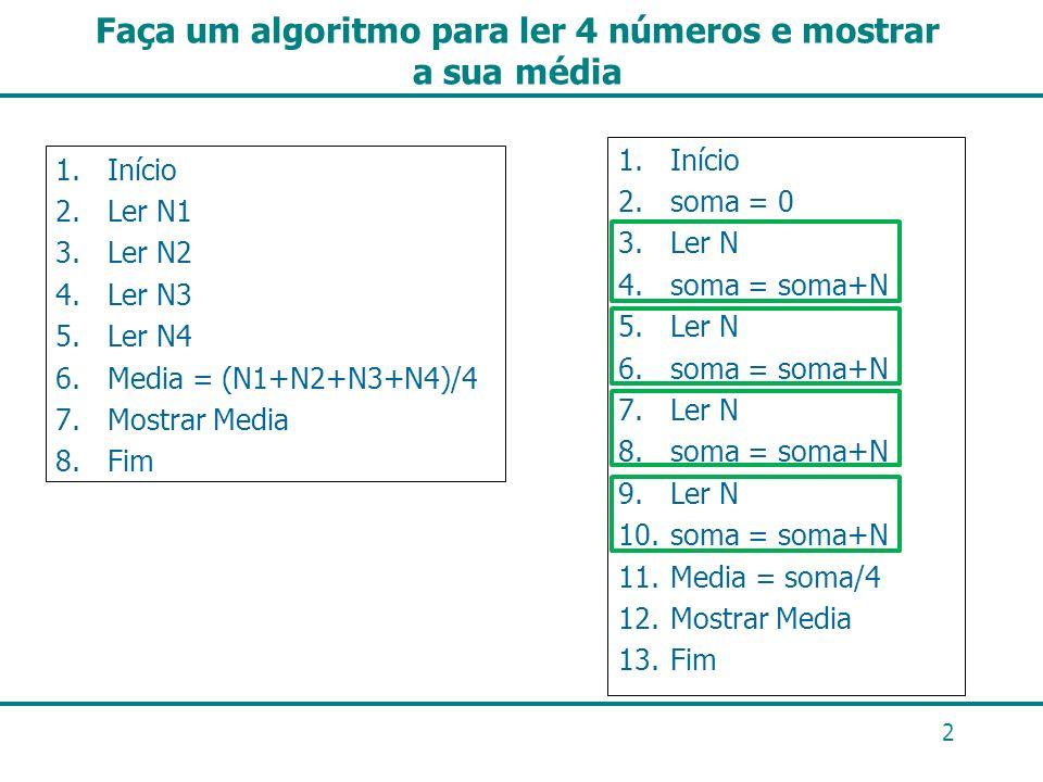 Faça um algoritmo para ler 4 números e mostrar a sua média 1.Início 2.Ler N1 3.Ler N2 4.Ler N3 5.Ler N4 6.Media = (N1+N2+N3+N4)/4 7.Mostrar Media 8.Fi