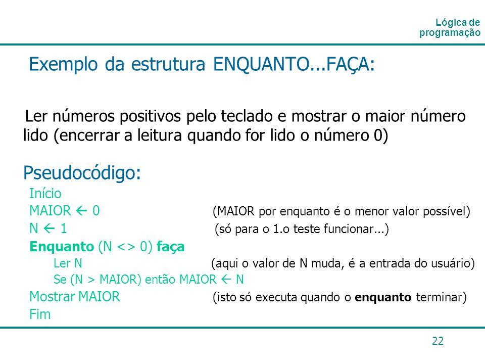 22 Exemplo da estrutura ENQUANTO...FAÇA: Ler números positivos pelo teclado e mostrar o maior número lido (encerrar a leitura quando for lido o número