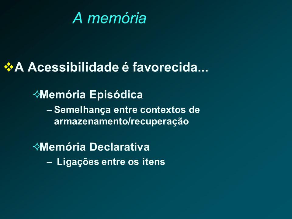 A memória A Acessibilidade é favorecida... Memória Episódica –Semelhança entre contextos de armazenamento/recuperação Memória Declarativa – Ligações e