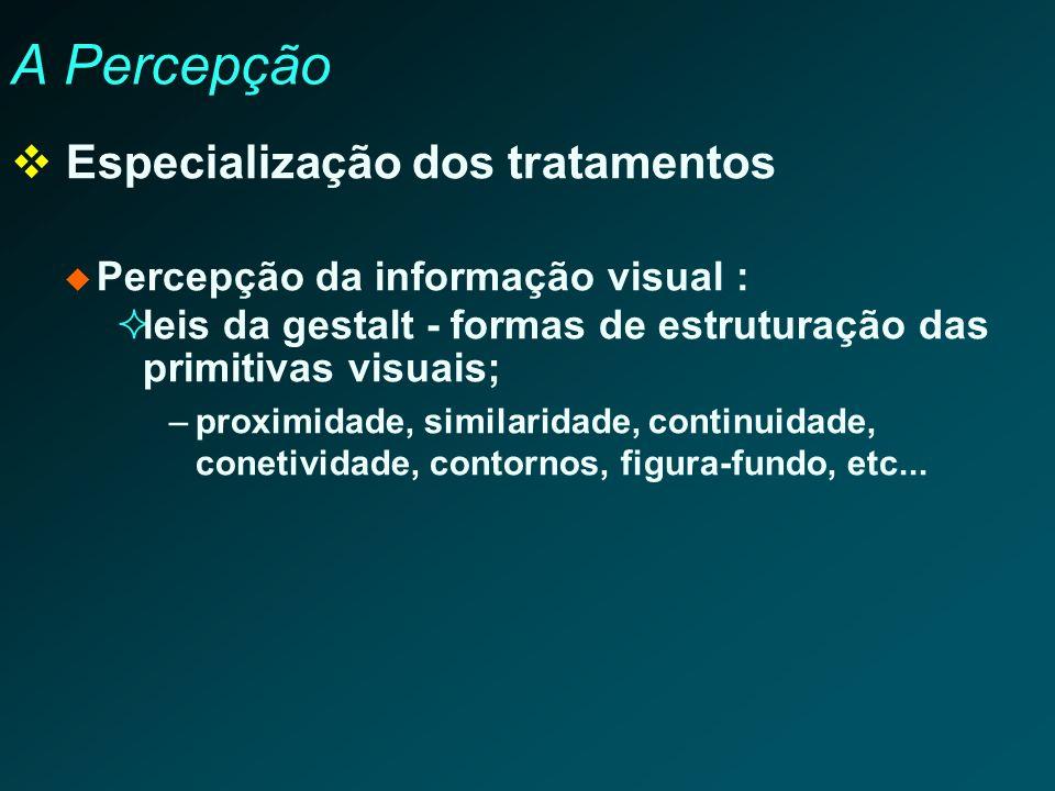 A Percepção Especialização dos tratamentos Percepção da informação visual : leis da gestalt - formas de estruturação das primitivas visuais; –proximid