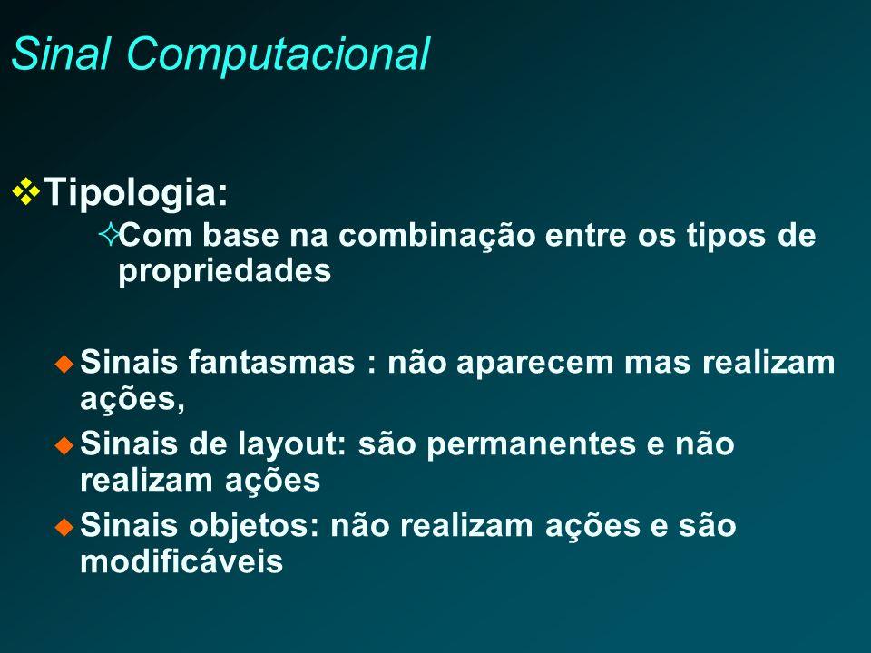 Sinal Computacional Tipologia: Com base na combinação entre os tipos de propriedades Sinais fantasmas : não aparecem mas realizam ações, Sinais de lay