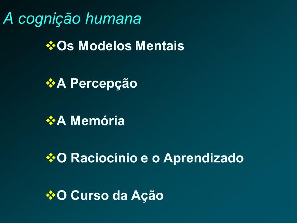A cognição humana Os Modelos Mentais A Percepção A Memória O Raciocínio e o Aprendizado O Curso da Ação