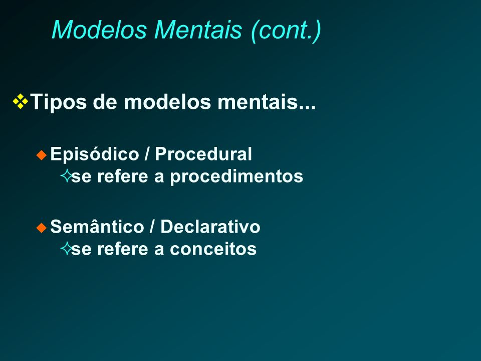 Modelos Mentais (cont.) Tipos de modelos mentais... Episódico / Procedural se refere a procedimentos Semântico / Declarativo se refere a conceitos