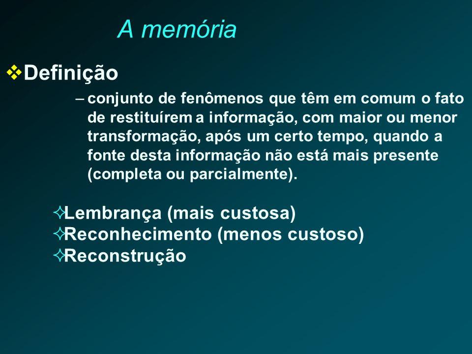 A memória Definição –conjunto de fenômenos que têm em comum o fato de restituírem a informação, com maior ou menor transformação, após um certo tempo,