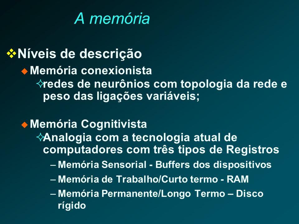 A memória Cognitiva Estruturas de memória: Registros Sensoriais (RS) altamente volátil (décimos de segundo) sub-sistemas especializados; visual, auditivo Memória de Curto Termo (MCT) ou de Trabalho(MT) 6 a 7 itens por poucos segundos sub-sistemas especializados : visual, auditivo; (MT)