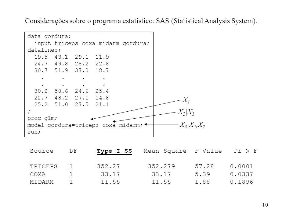10 Considerações sobre o programa estatístico: SAS (Statistical Analysis System).