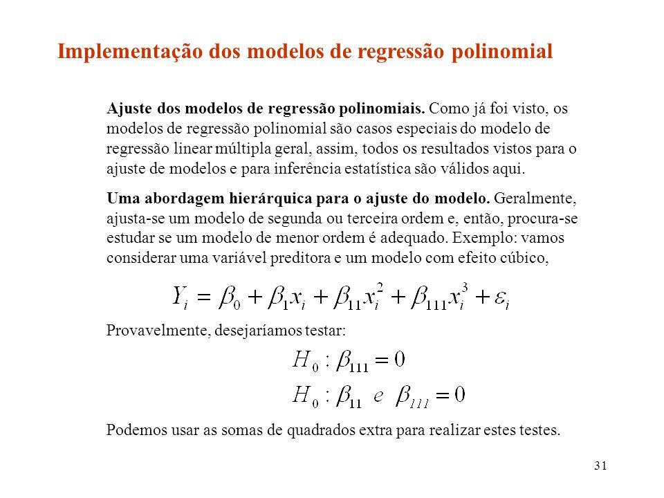 31 Implementação dos modelos de regressão polinomial Ajuste dos modelos de regressão polinomiais.