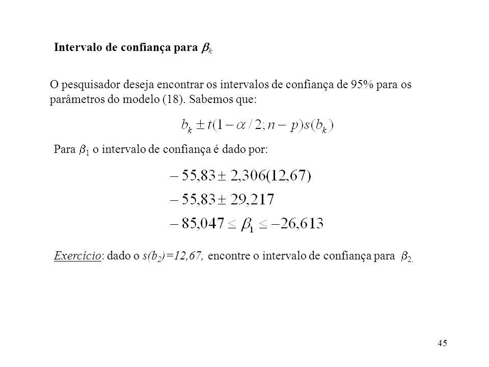 45 Intervalo de confiança para k O pesquisador deseja encontrar os intervalos de confiança de 95% para os parâmetros do modelo (18).