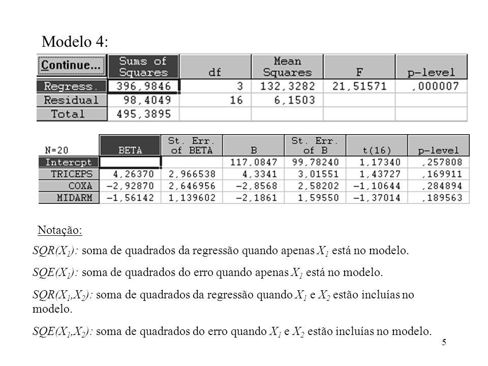 16 Já obtivemos os resultados das somas de quadrados do erro do modelo completo e, também, da soma de quadrados extra, quando as variáveis entram no modelo na ordem X 1, X 2, X 3.Assim, o teste estatístico vale: Com o auxílio de um programa estatístico encontramos P(F>1,88)=0,189261, portanto, não rejeitamos a hipótese nula e concluímos que podemos retirar a variável X 3 do modelo que já contém X 1, X 2.