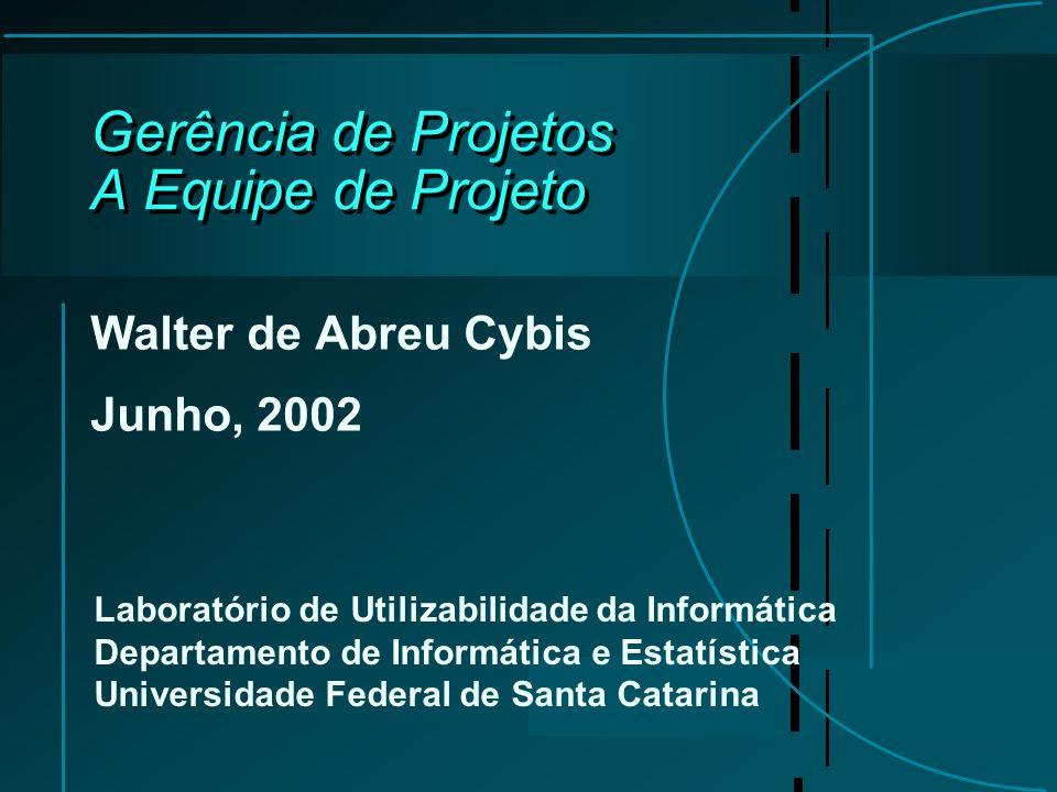 Gerência de Projetos A Equipe de Projeto Walter de Abreu Cybis Junho, 2002 Laboratório de Utilizabilidade da Informática Departamento de Informática e