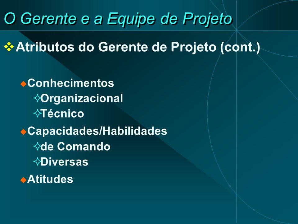 O Gerente e a Equipe de Projeto Atributos do Gerente de Projeto (cont.) Conhecimentos Organizacional Técnico Capacidades/Habilidades de Comando Divers