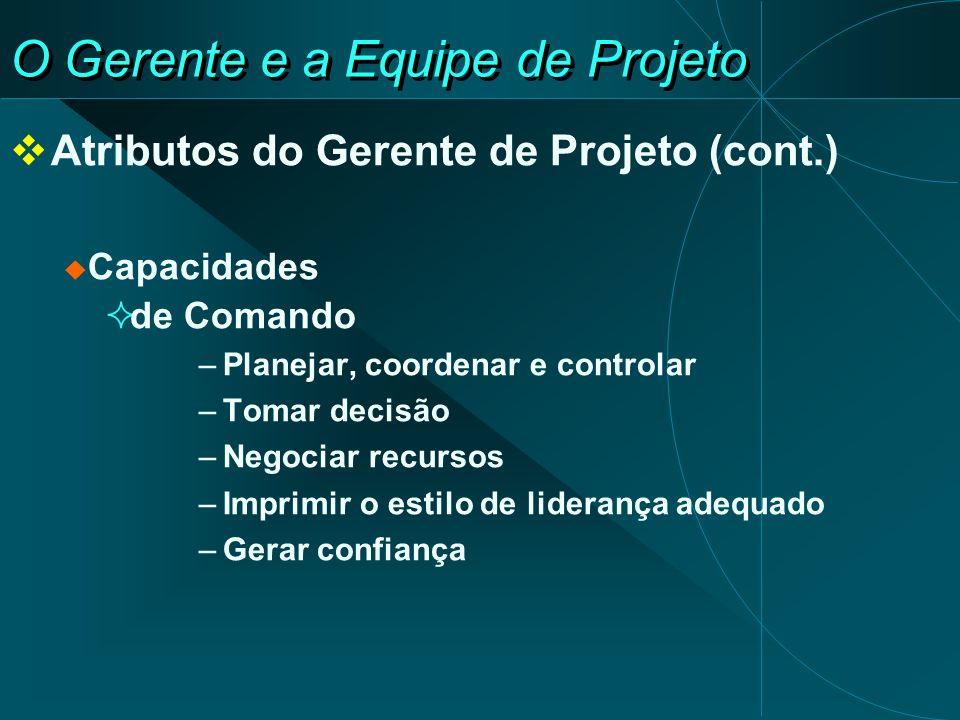 O Gerente e a Equipe de Projeto Atributos do Gerente de Projeto (cont.) Capacidades de Comando –Planejar, coordenar e controlar –Tomar decisão –Negoci