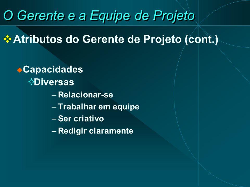 O Gerente e a Equipe de Projeto Atributos do Gerente de Projeto (cont.) Capacidades Diversas –Relacionar-se –Trabalhar em equipe –Ser criativo –Redigi