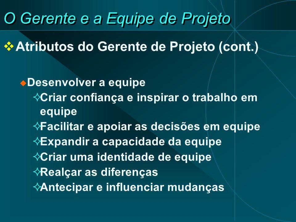 O Gerente e a Equipe de Projeto Atributos do Gerente de Projeto (cont.) Desenvolver a equipe Criar confiança e inspirar o trabalho em equipe Facilitar