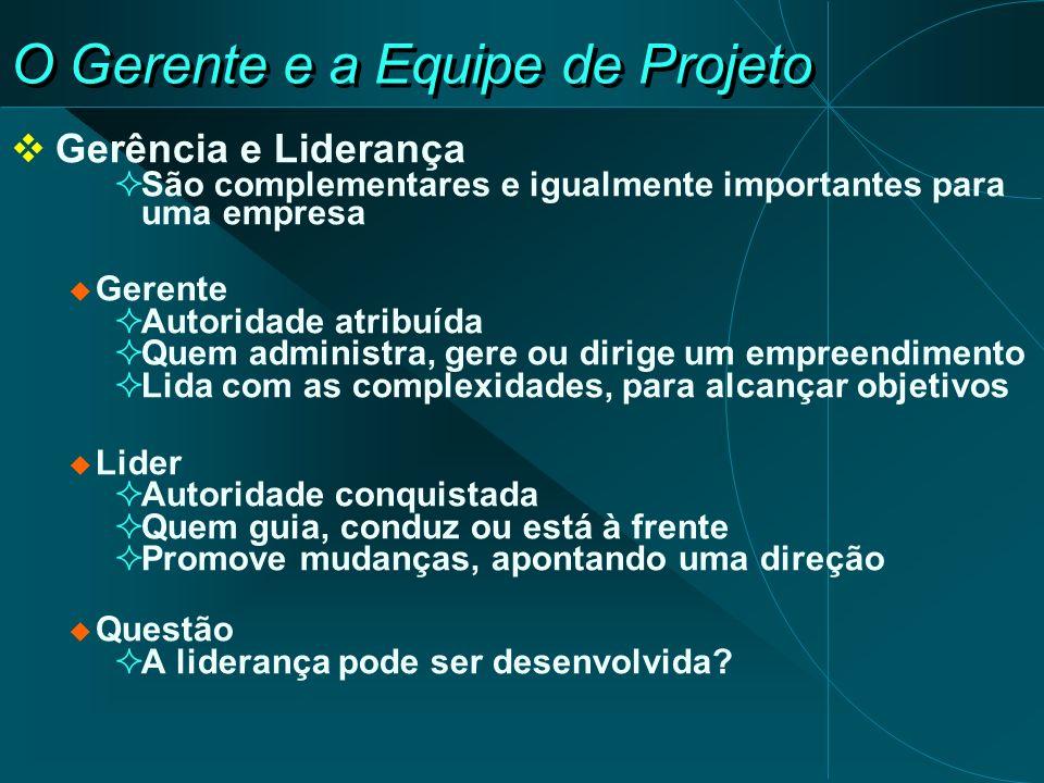 O Gerente e a Equipe de Projeto Gerência e Liderança São complementares e igualmente importantes para uma empresa Gerente Autoridade atribuída Quem ad