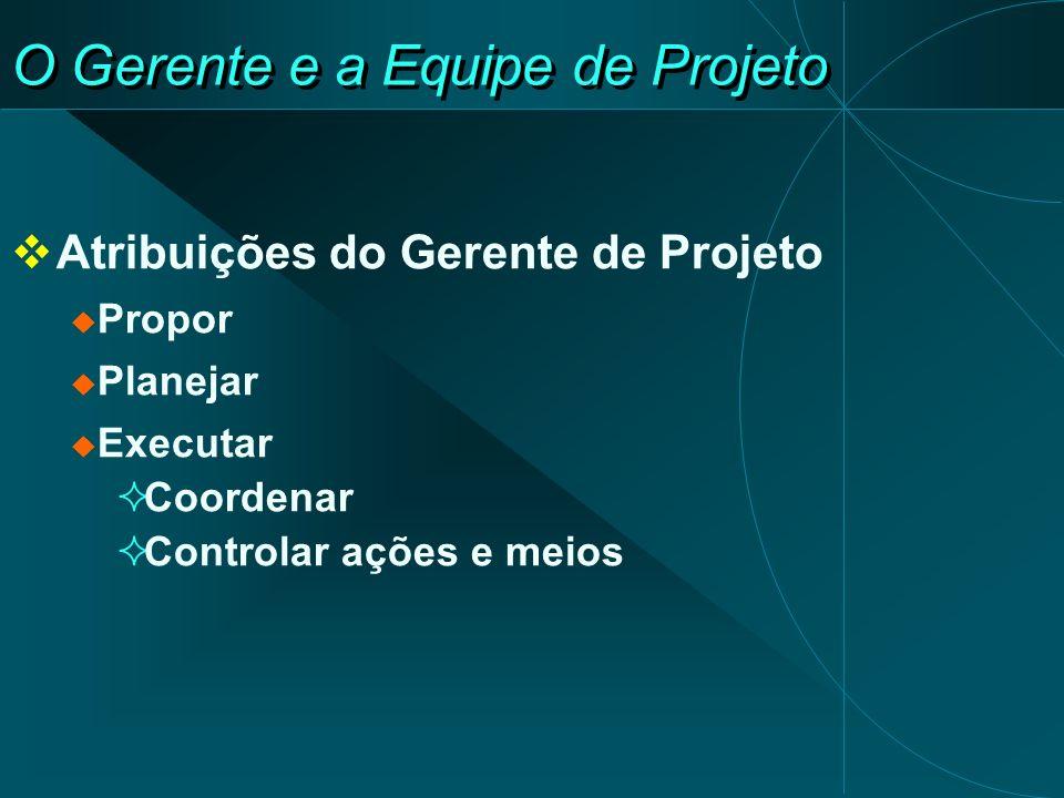 O Gerente e a Equipe de Projeto Atribuições do Gerente de Projeto Propor Planejar Executar Coordenar Controlar ações e meios