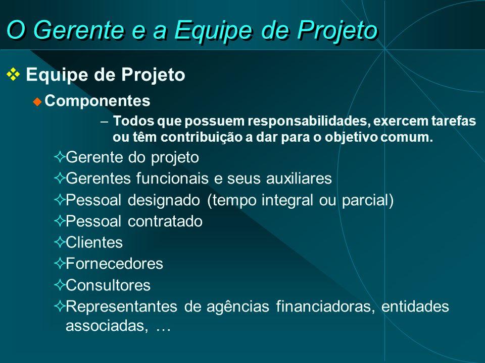 O Gerente e a Equipe de Projeto Equipe de Projeto Componentes –Todos que possuem responsabilidades, exercem tarefas ou têm contribuição a dar para o o