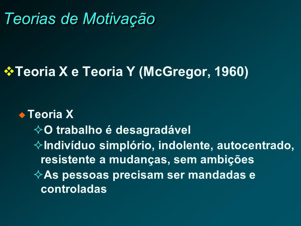Teorias de Motivação Teoria X e Teoria Y (McGregor, 1960) Teoria X O trabalho é desagradável Indivíduo simplório, indolente, autocentrado, resistente