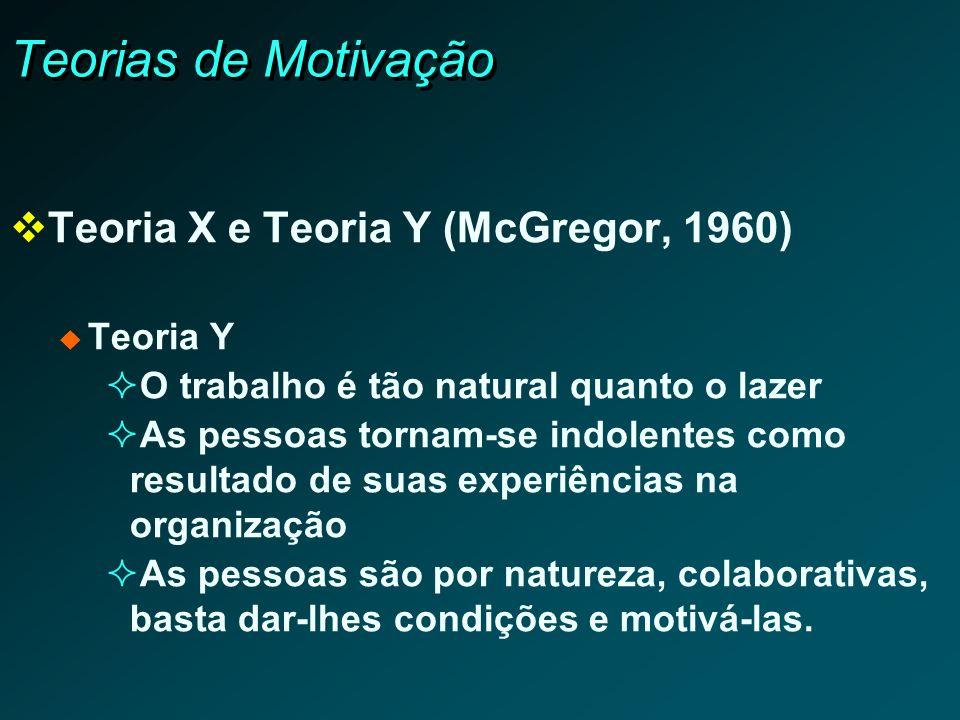 Teorias de Motivação Teoria X e Teoria Y (McGregor, 1960) Teoria Y O trabalho é tão natural quanto o lazer As pessoas tornam-se indolentes como result