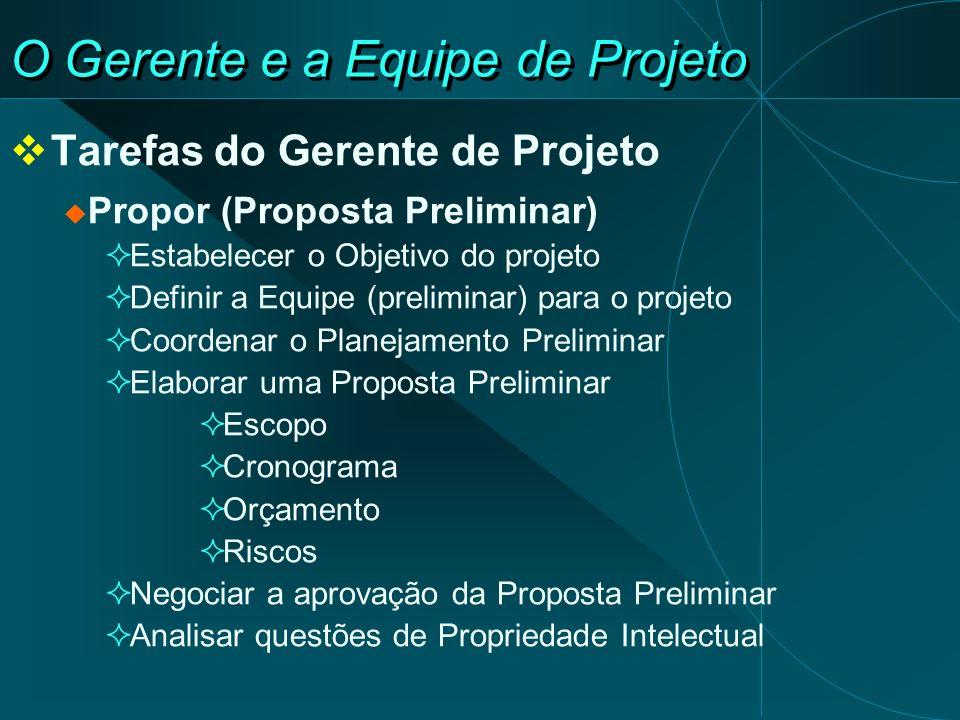 O Gerente e a Equipe de Projeto Tarefas do Gerente de Projeto Propor (Proposta Preliminar) Estabelecer o Objetivo do projeto Definir a Equipe (prelimi