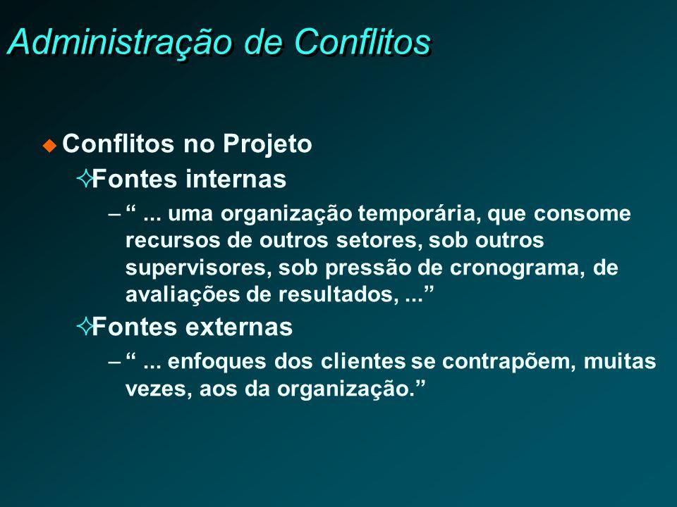 Administração de Conflitos Conflitos no Projeto Fontes internas –... uma organização temporária, que consome recursos de outros setores, sob outros su