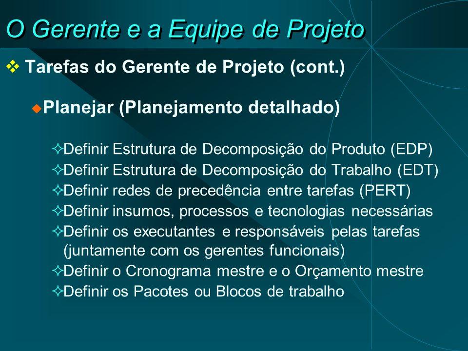 O Gerente e a Equipe de Projeto Tarefas do Gerente de Projeto (cont.) Planejar (Planejamento detalhado) Definir Estrutura de Decomposição do Produto (