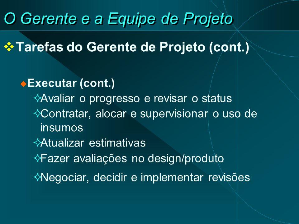 O Gerente e a Equipe de Projeto Tarefas do Gerente de Projeto (cont.) Executar (cont.) Avaliar o progresso e revisar o status Contratar, alocar e supe