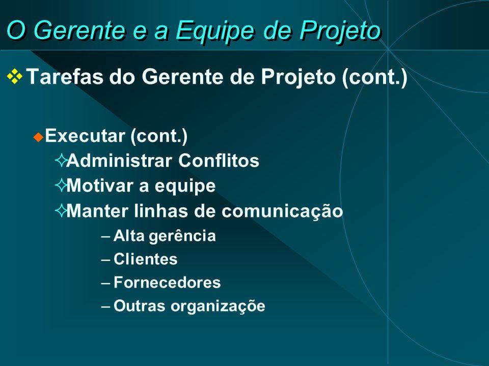 O Gerente e a Equipe de Projeto Tarefas do Gerente de Projeto (cont.) Executar (cont.) Administrar Conflitos Motivar a equipe Manter linhas de comunic
