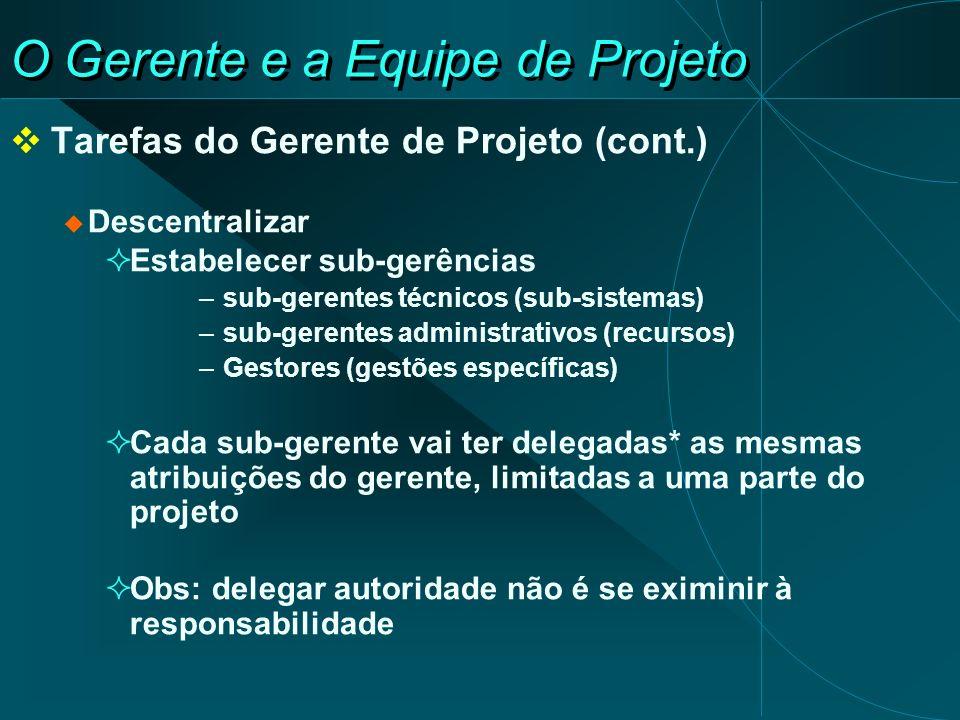 O Gerente e a Equipe de Projeto Tarefas do Gerente de Projeto (cont.) Descentralizar Estabelecer sub-gerências –sub-gerentes técnicos (sub-sistemas) –