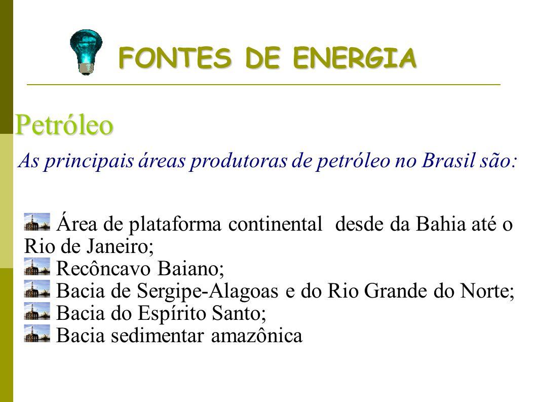 Petróleo As principais áreas produtoras de petróleo no Brasil são: Área de plataforma continental desde da Bahia até o Rio de Janeiro; Recôncavo Baian