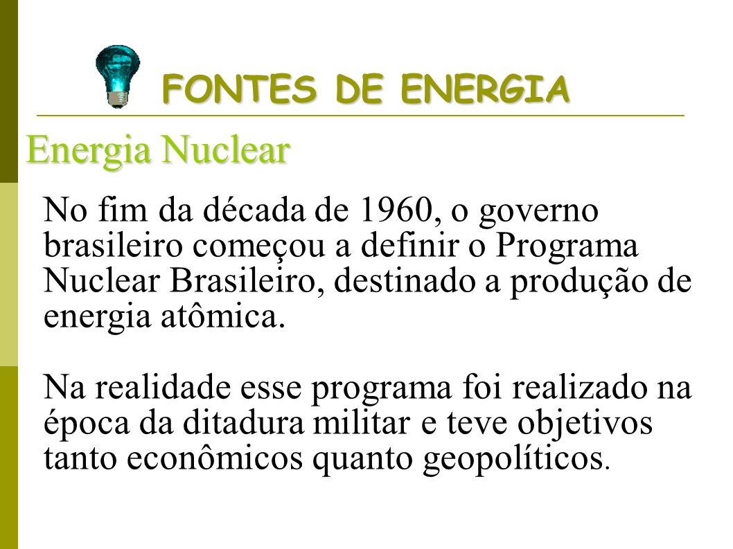 FONTES DE ENERGIA Energia Nuclear No fim da década de 1960, o governo brasileiro começou a definir o Programa Nuclear Brasileiro, destinado a produção