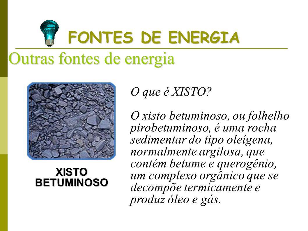 FONTES DE ENERGIA Outras fontes de energia XISTO BETUMINOSO O que é XISTO? O xisto betuminoso, ou folhelho pirobetuminoso, é uma rocha sedimentar do t