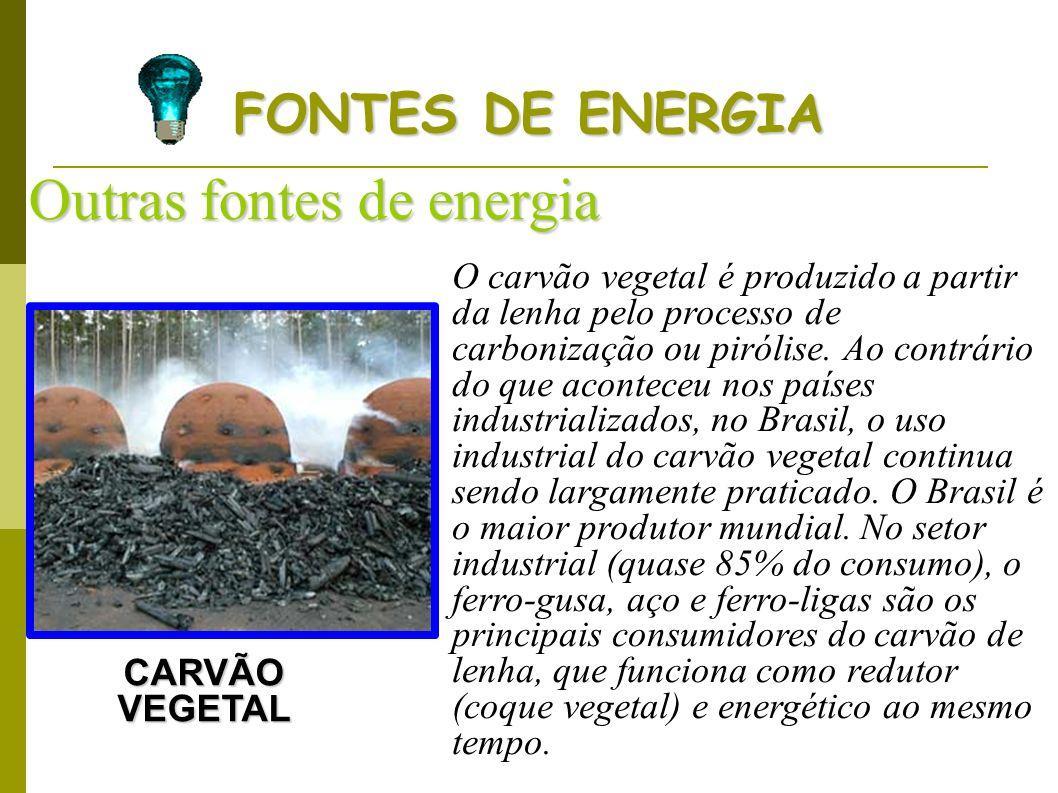 FONTES DE ENERGIA Outras fontes de energia CARVÃO VEGETAL O carvão vegetal é produzido a partir da lenha pelo processo de carbonização ou pirólise. Ao