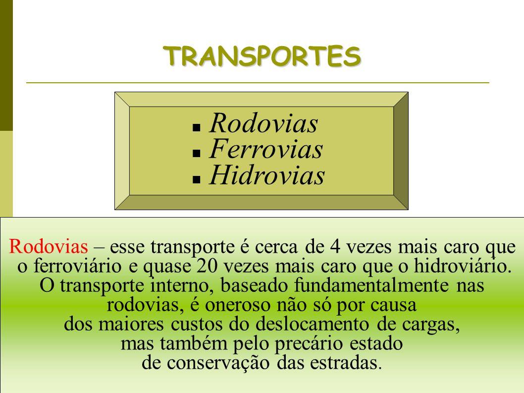 Rodovias Ferrovias Hidrovias TRANSPORTES Rodovias – esse transporte é cerca de 4 vezes mais caro que o ferroviário e quase 20 vezes mais caro que o hi