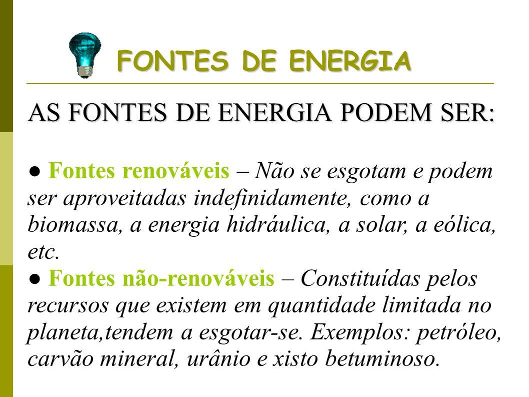AS FONTES DE ENERGIA PODEM SER: Fontes renováveis – Não se esgotam e podem ser aproveitadas indefinidamente, como a biomassa, a energia hidráulica, a