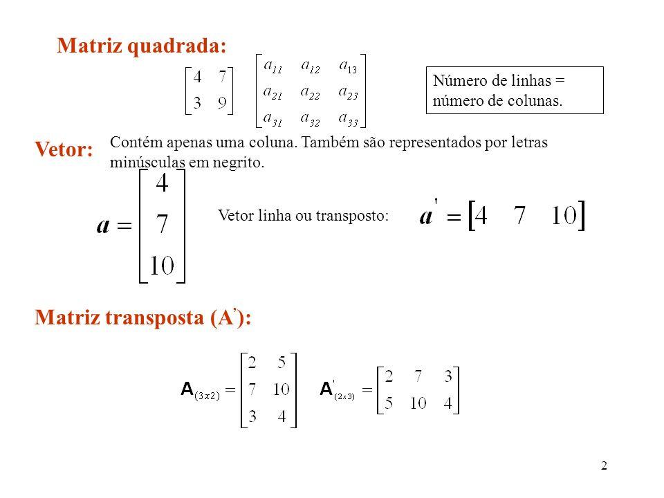 23 Aplicação na regressão Na análise de regressão, a principal inversa é a de (X X), representada por (XX) -1: Exemplo: Para o experimento sobre tempo para criptografar e tamanho do registro, a inversa da matriz (X X) com o auxílio de uma planilha eletrônica.
