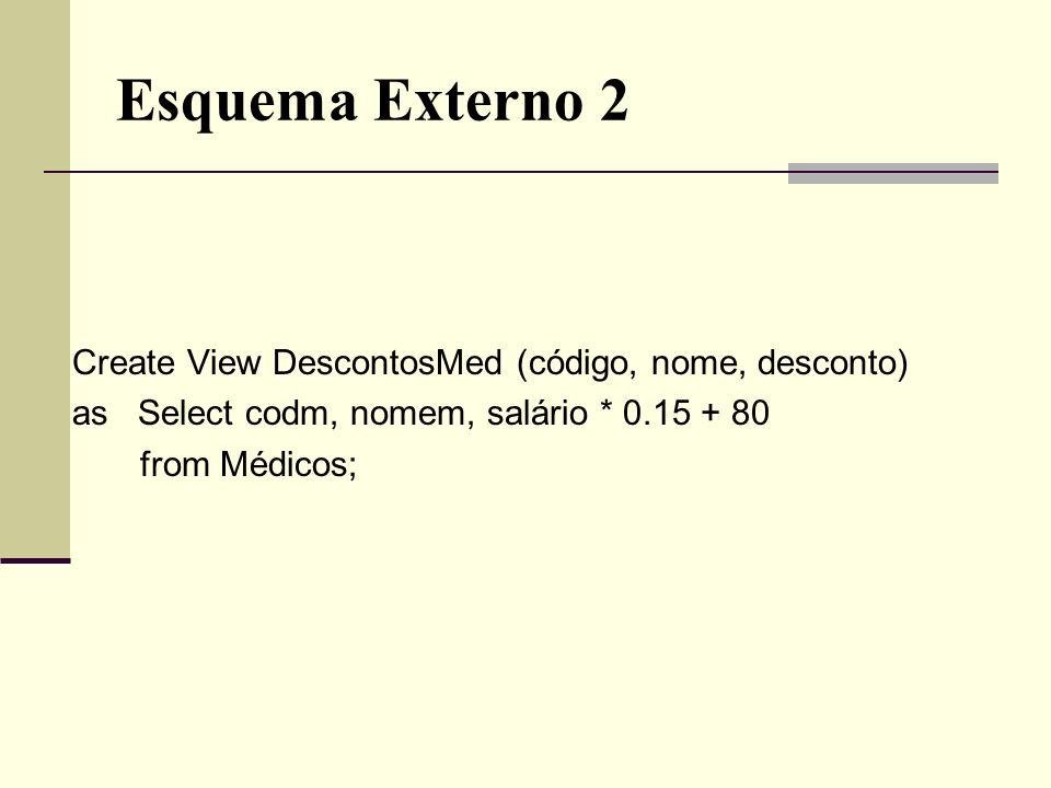 Esquema Externo 2 Create View DescontosMed (código, nome, desconto) as Select codm, nomem, salário * 0.15 + 80 from Médicos;