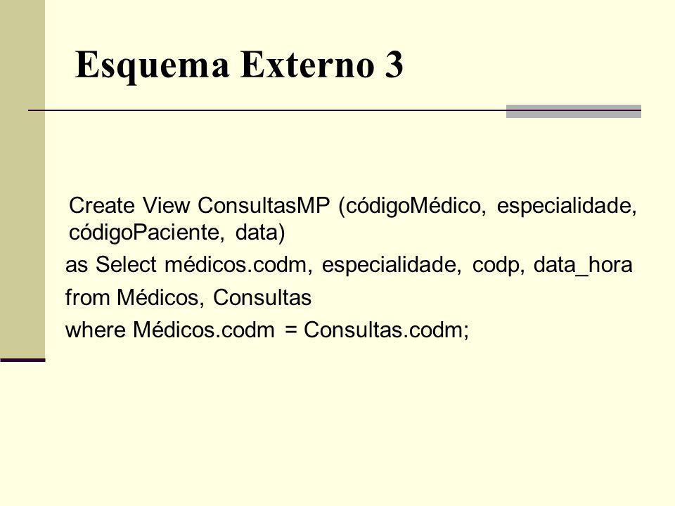 Esquema Externo 3 Create View ConsultasMP (códigoMédico, especialidade, códigoPaciente, data) as Select médicos.codm, especialidade, codp, data_hora f