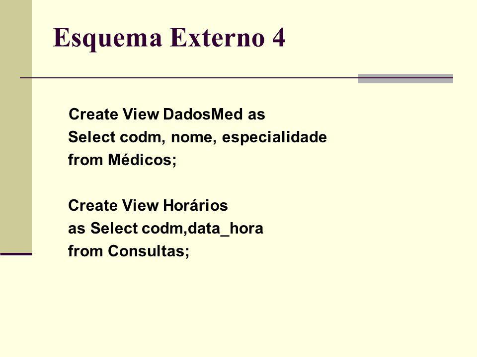 Esquema Externo 4 Create View DadosMed as Select codm, nome, especialidade from Médicos; Create View Horários as Select codm,data_hora from Consultas;