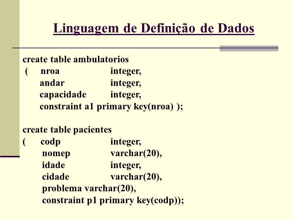 Linguagem de Definição de Dados create table ambulatorios ( nroainteger, andarinteger, capacidadeinteger, constraint a1 primary key(nroa) ); create ta