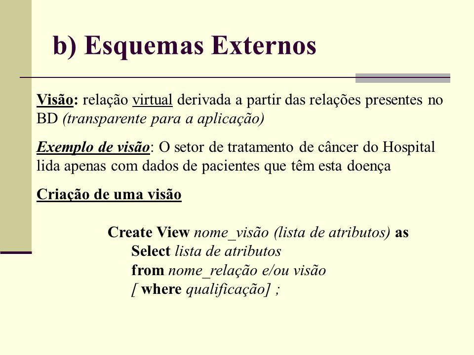 b) Esquemas Externos Visão: relação virtual derivada a partir das relações presentes no BD (transparente para a aplicação) Exemplo de visão: O setor d