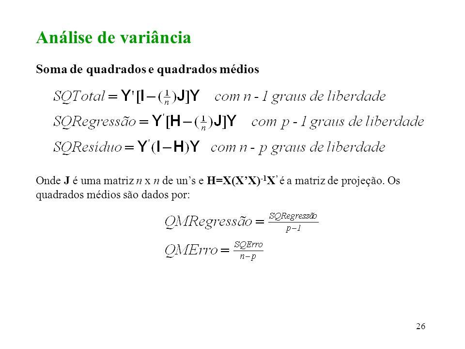 27 Teste F para regressão Hipóteses em teste: A estatística de teste é dada por: Se F * > F( ; p-1,n-p), rejeitamos a hipótese nula, caso contrário, aceitamos a hipótese.