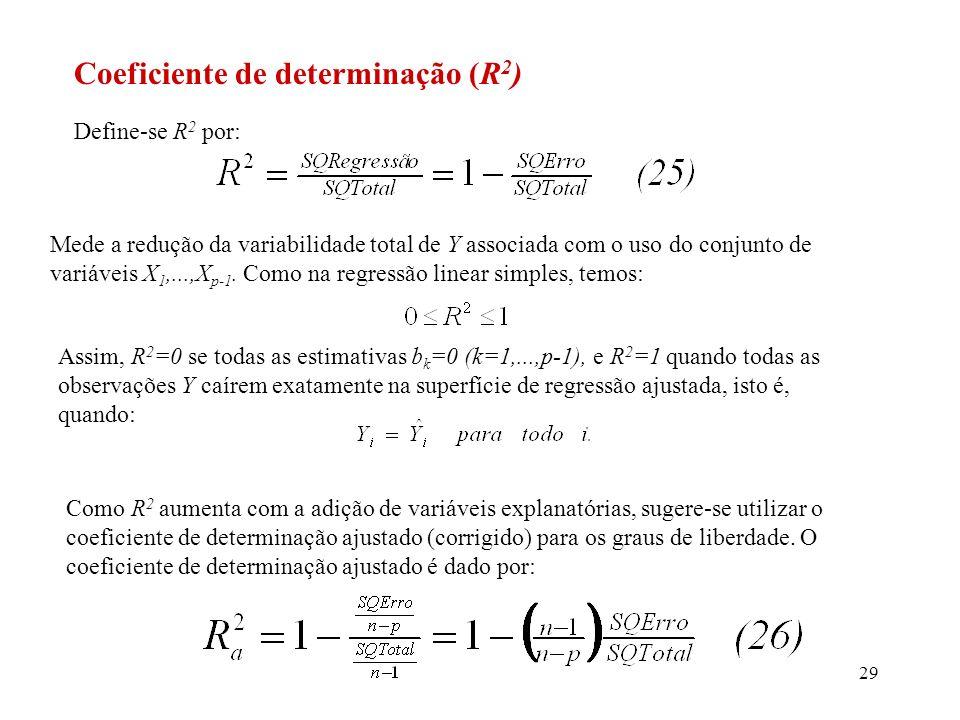 30 Um alto valor de R 2 não necessariamente implica que o modelo ajustado se presta para se fazer inferências precisas, pois apesar de um valor alto de R 2, o QME ainda pode ser grande.